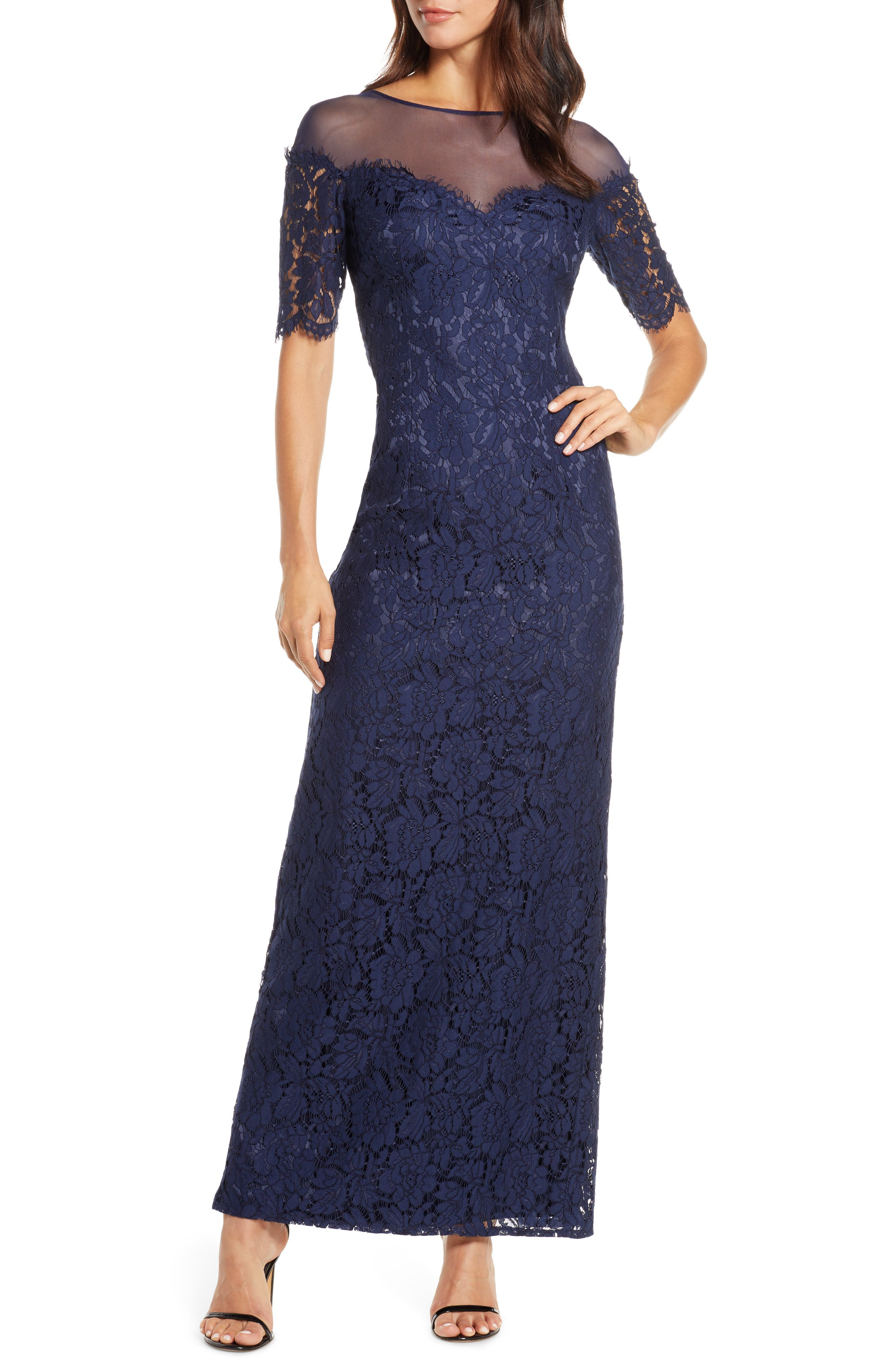 Eliza J Illusion Top Lace Evening Gown (Regular, Petite & Plus Size)