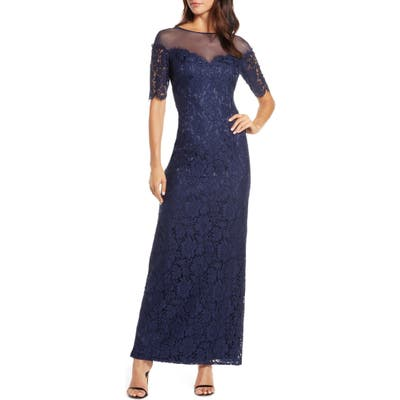 Plus Size Eliza J Illusion Top Lace Evening Gown, Blue