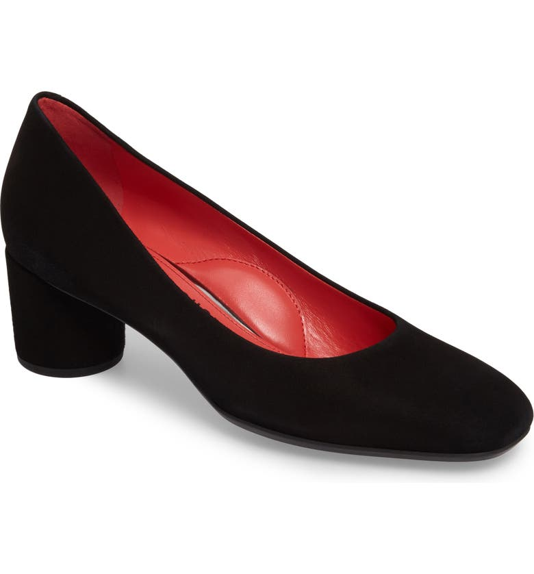 PAS DE ROUGE Block Heel Pump, Main, color, BLACK SUEDE