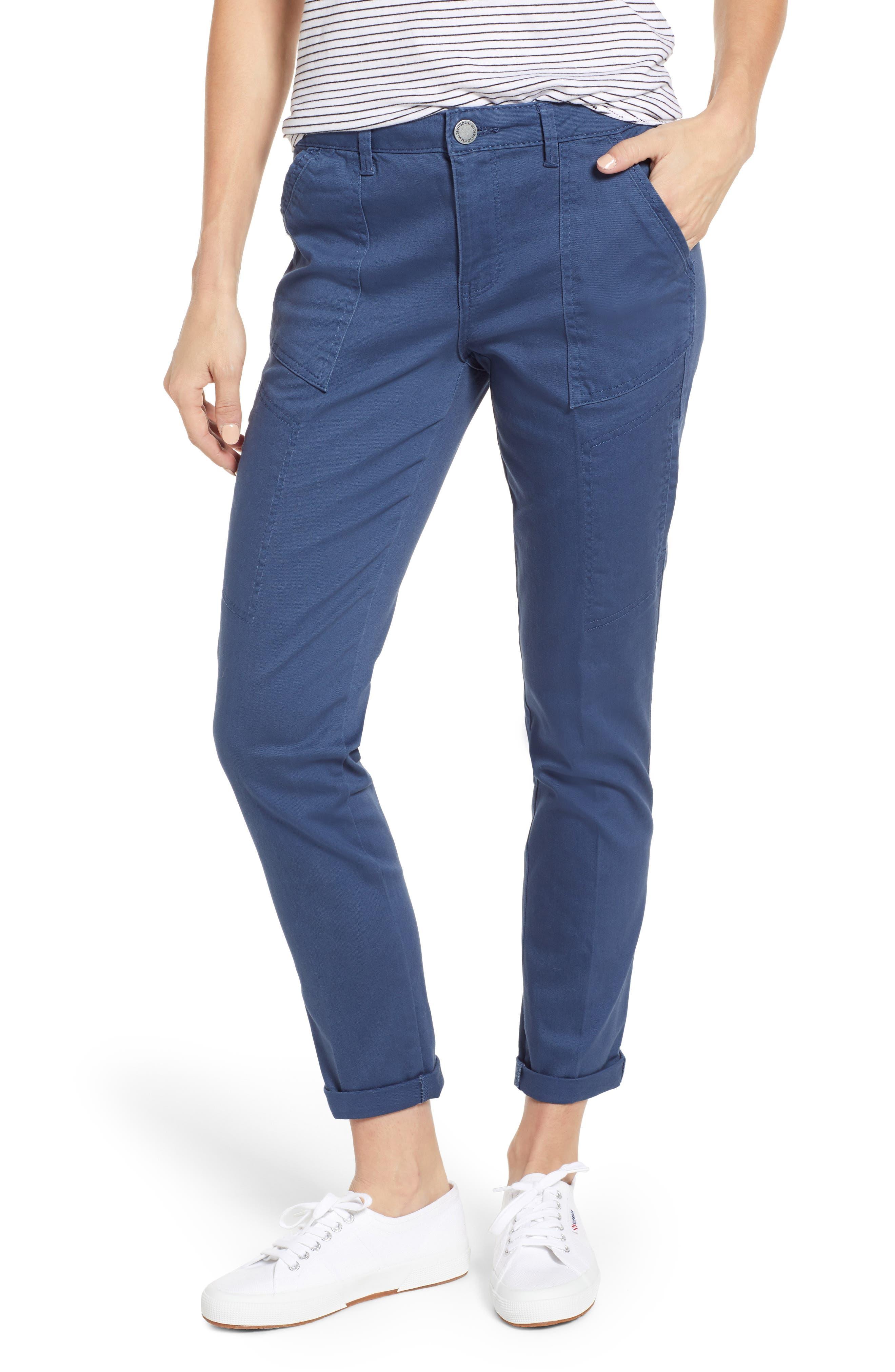 Wit & Wisdom Flex-Ellent High Waist Cargo Pants, Blue (Nordstrom Exclusive)