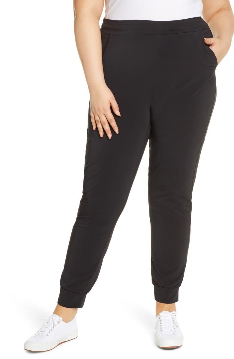 HUE High Waist Jogger Pants, Main, color, 001