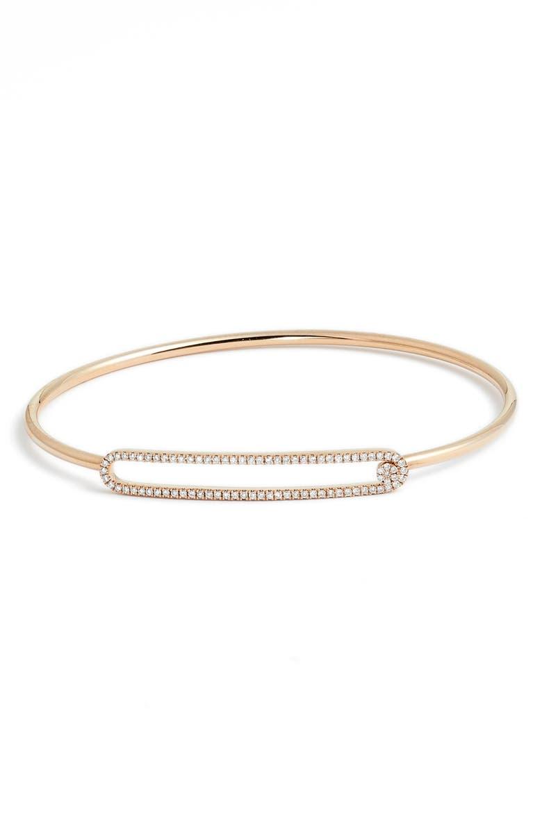 BONY LEVY Rounded Rectangle Diamond Bangle Bracelet, Main, color, ROSE GOLD