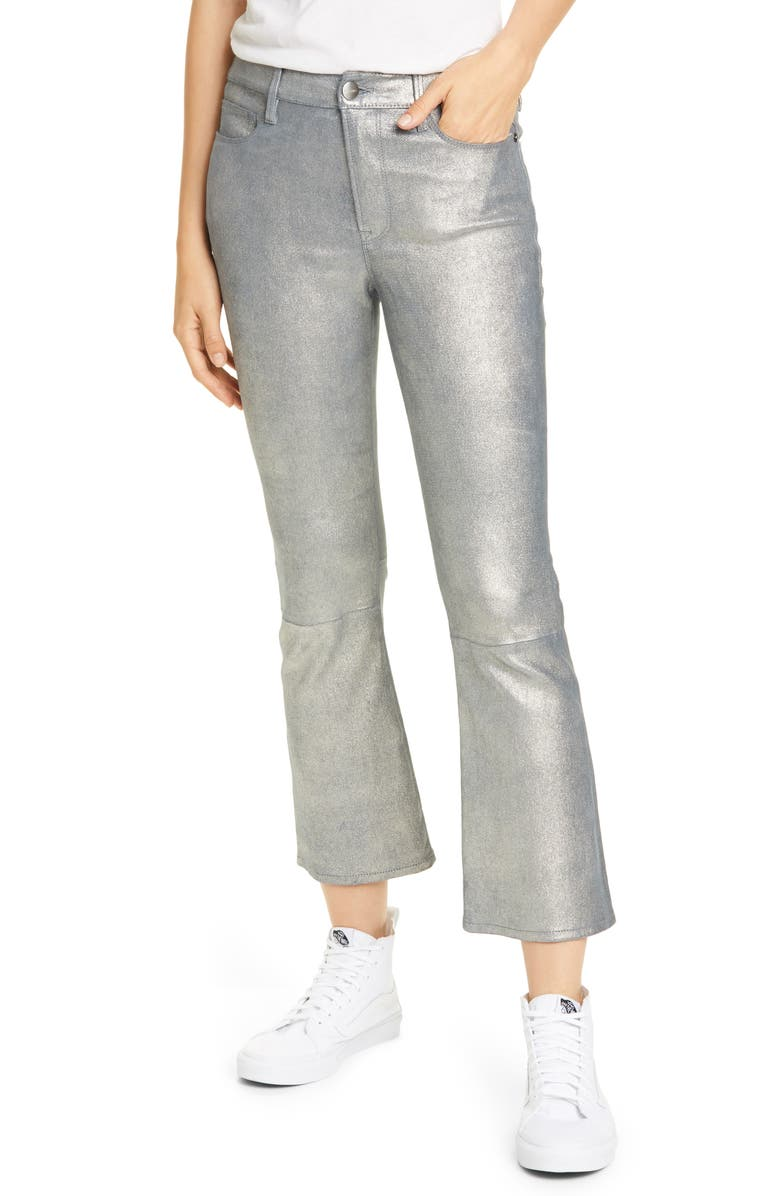 FRAME Le Crop Metallic Leather Mini Boot Pants, Main, color, SILVER