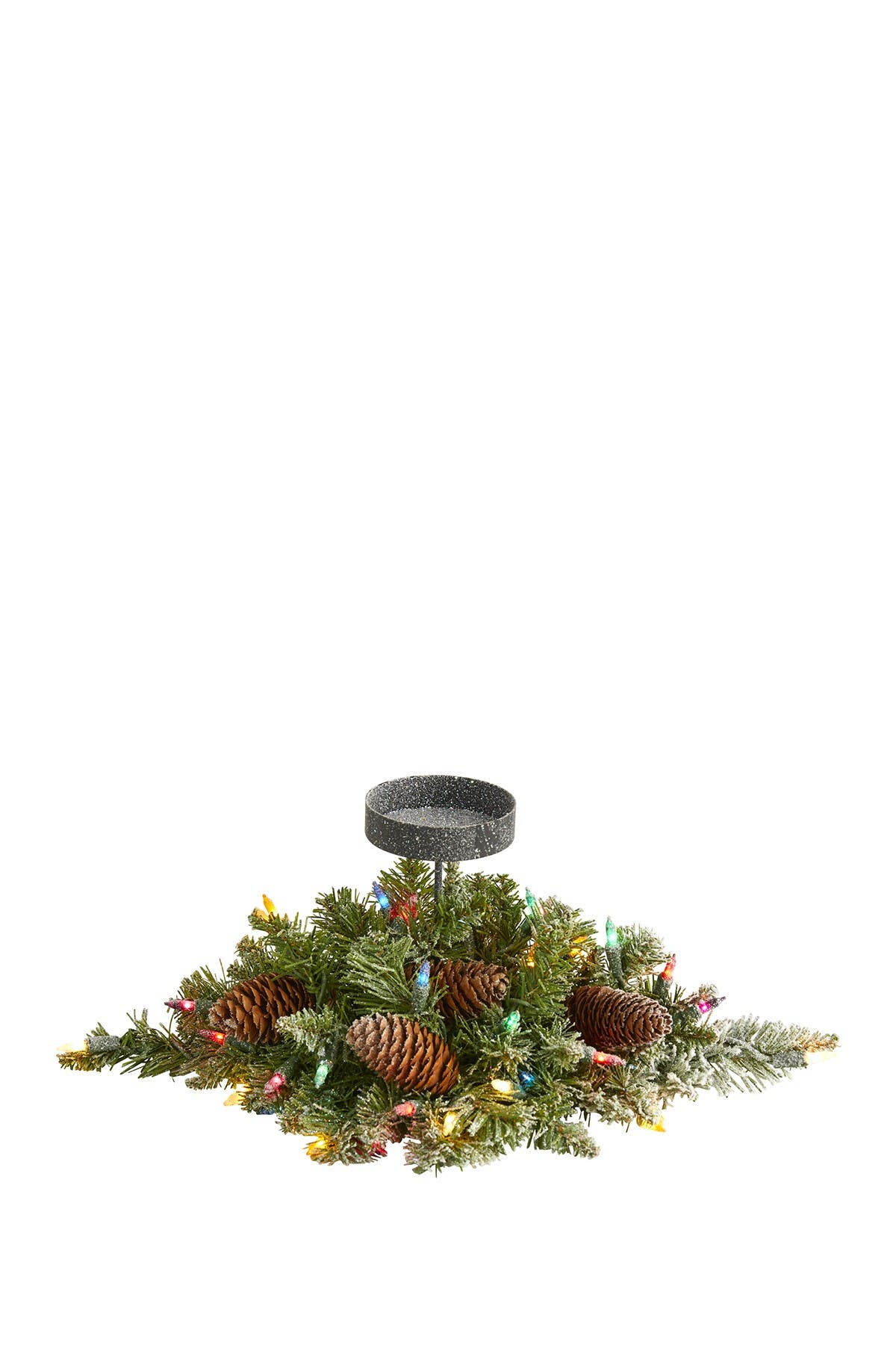 """Image of NEARLY NATURAL 16"""" Flocked Light-Up Artificial Christmas Pine Candelabrum"""
