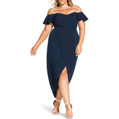 Plus Size City Chic Maxi Flutter Off The Shoulder High/low Dress, Blue