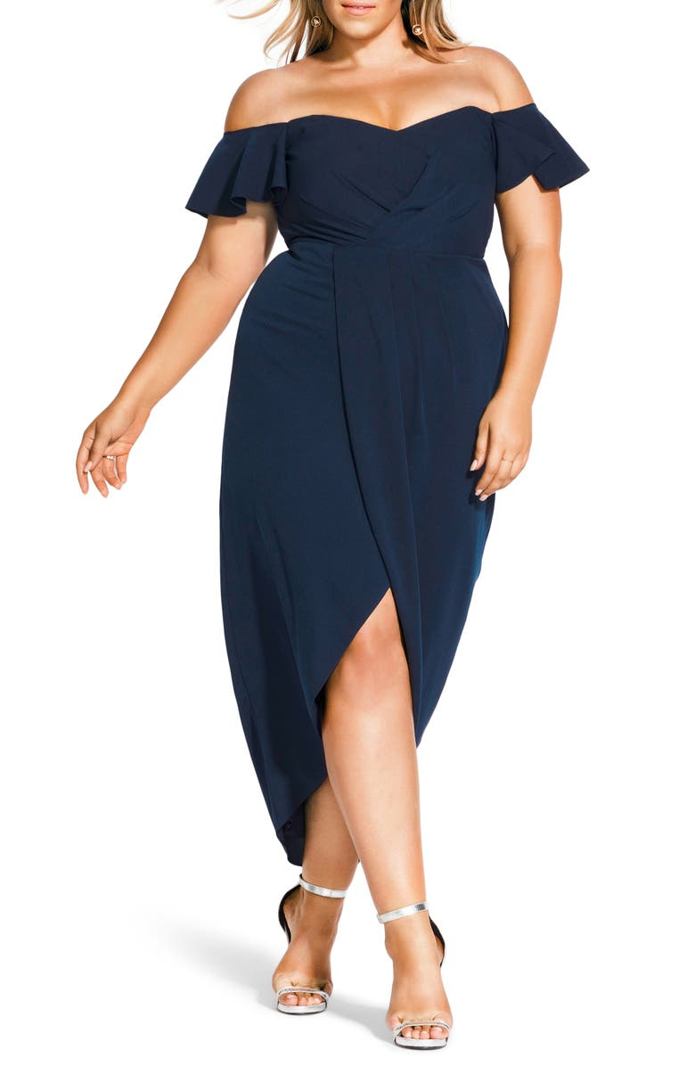 CITY CHIC Maxi Flutter Off the Shoulder High/Low Dress, Main, color, NAVY
