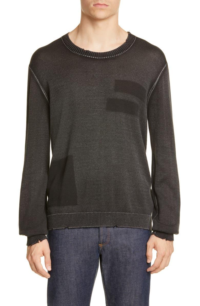 JOHN VARVATOS Distressed Geo Stamp Sweater, Main, color, BLACK