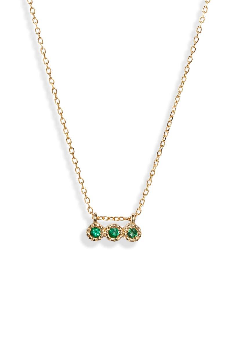 JENNIE KWON DESIGNS Three Emerald Pendant Necklace, Main, color, YELLOW GOLD/ EMERALD