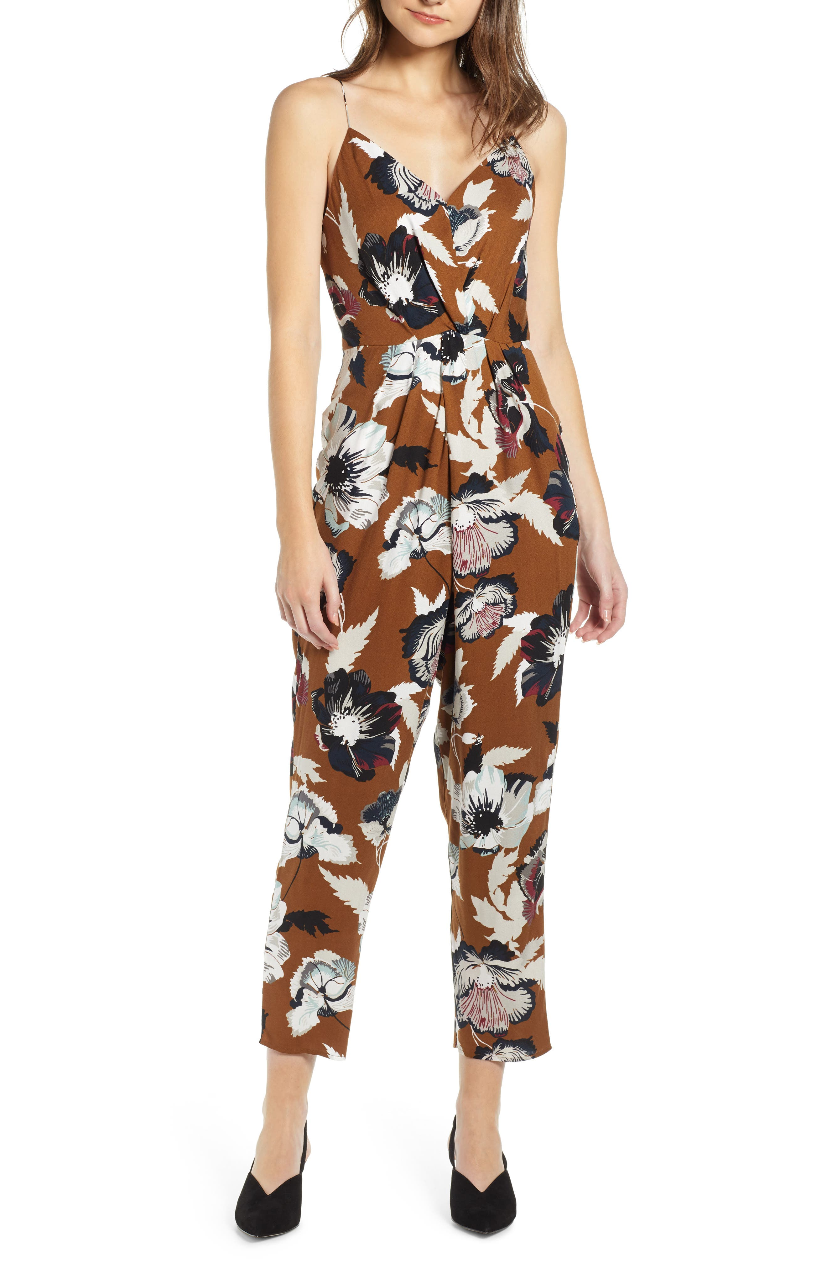 Leith Sleeveless Twist Front Jumpsuit, Brown