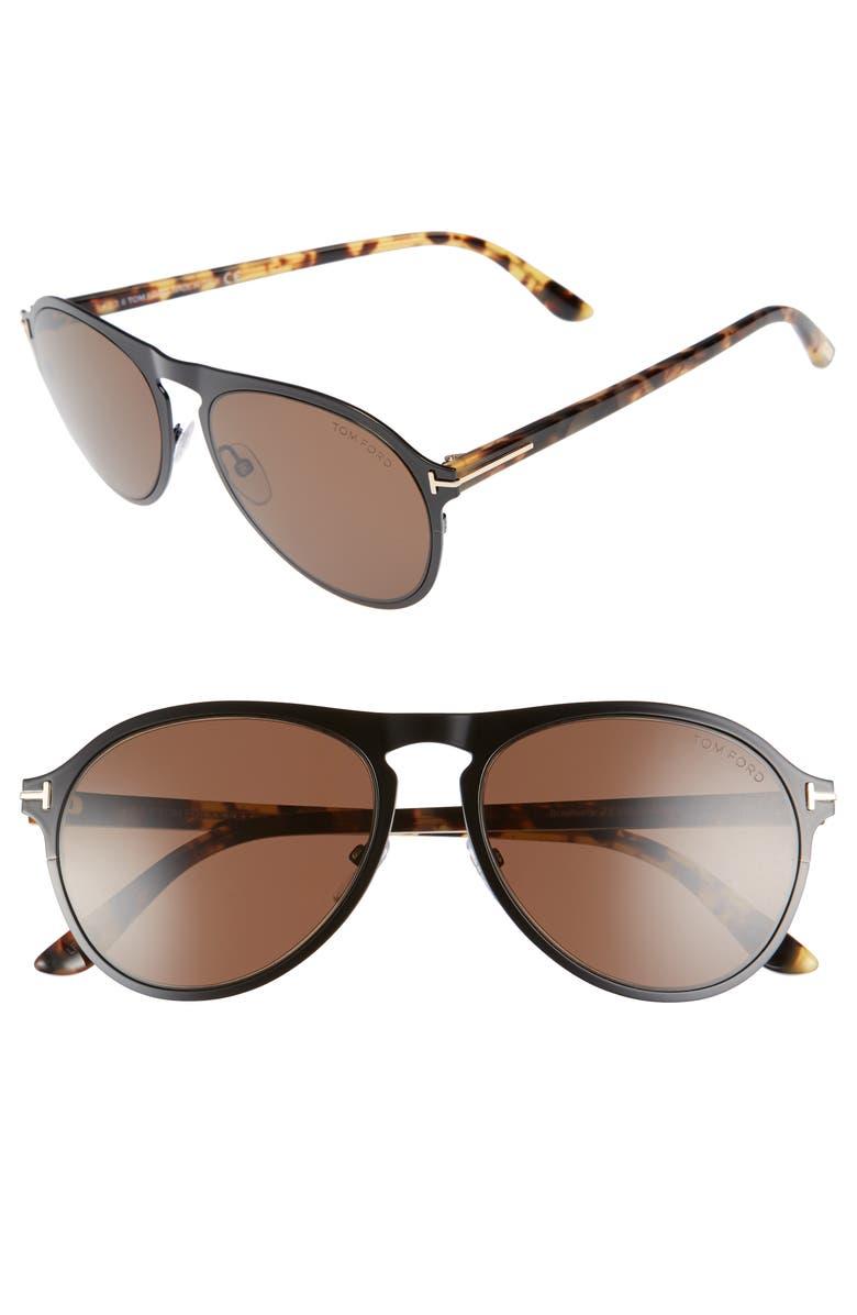 TOM FORD Bradburry 56mm Sunglasses, Main, color, 001