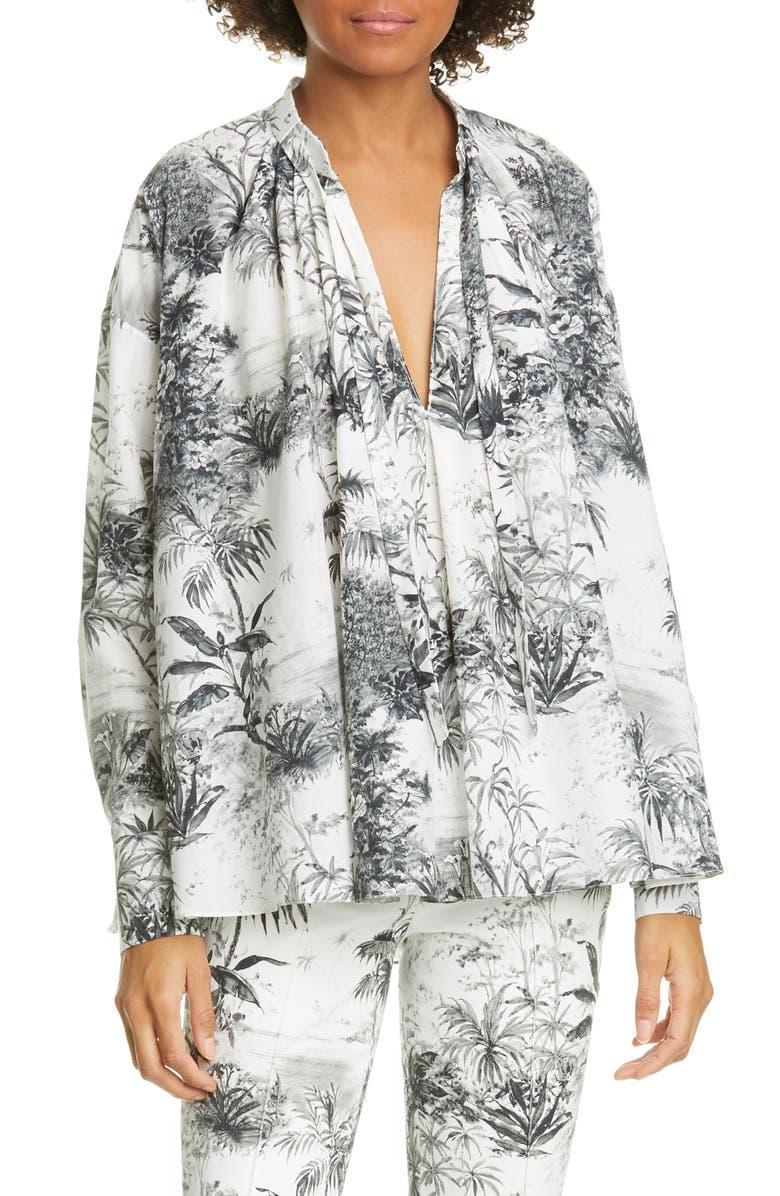 ADAM LIPPES Palm Print Cotton & Silk Voile Top, Main, color, 900