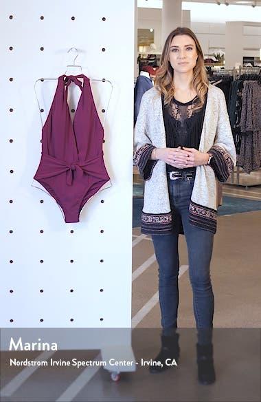Ava Plunge Wrap One-Piece Halter Swimsuit, sales video thumbnail