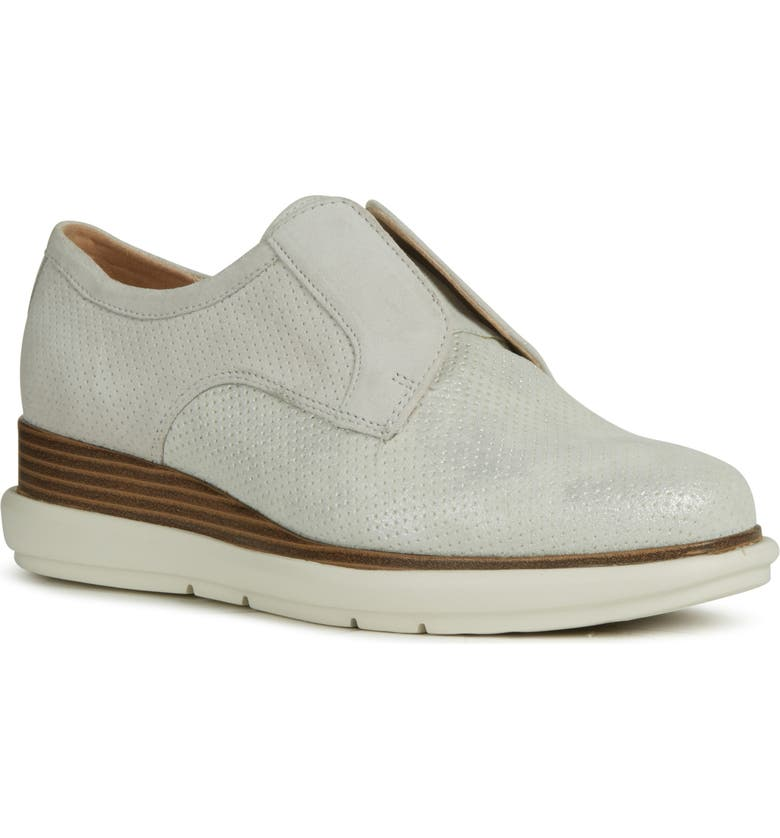GEOX Samuela Laceless Derby, Main, color, OFF WHITE/ SILVER SUEDE