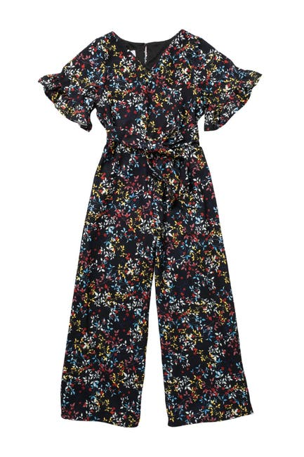 Image of Pastourelle by Pippa and Julie Flutter Sleeve Faux Wrap Jumpsuit