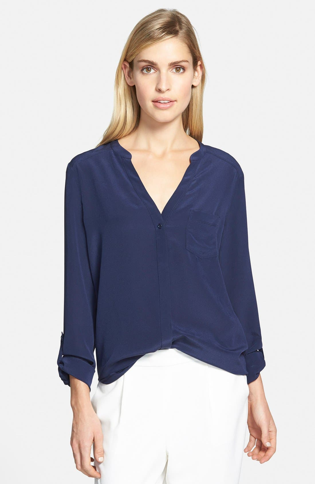 ,                             Collarless Silk Blouse,                             Main thumbnail 45, color,                             410