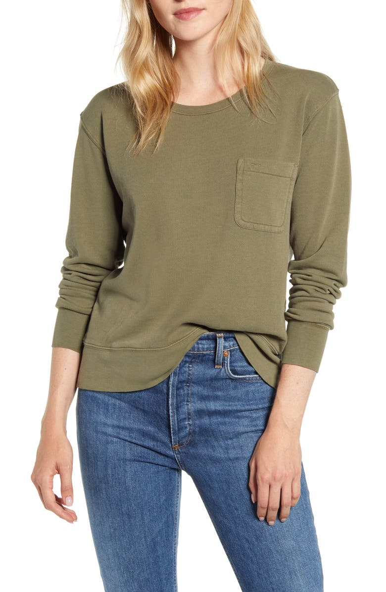ALEX MILL Pocket Sweatshirt, Main, color, ARMY OLIVE