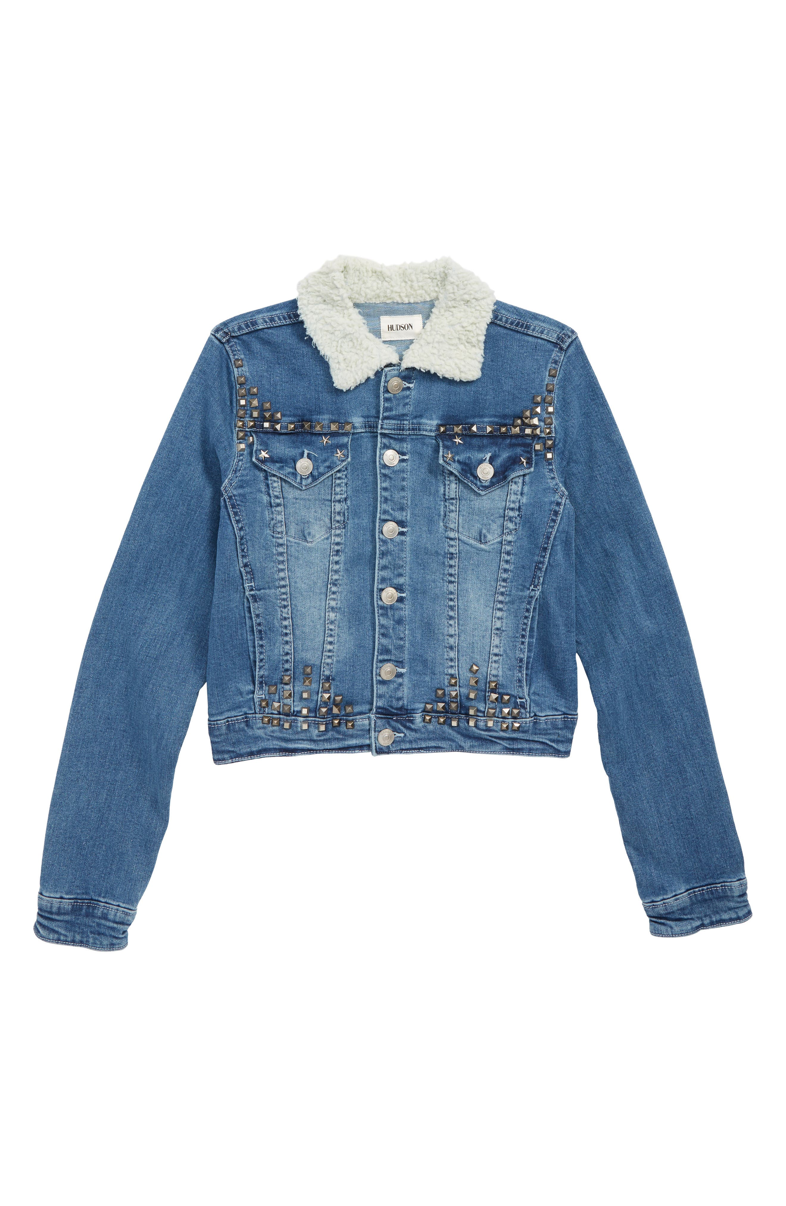 Image of HUDSON Jeans Mariah Crop Denim Jacket with Faux Shearling Collar