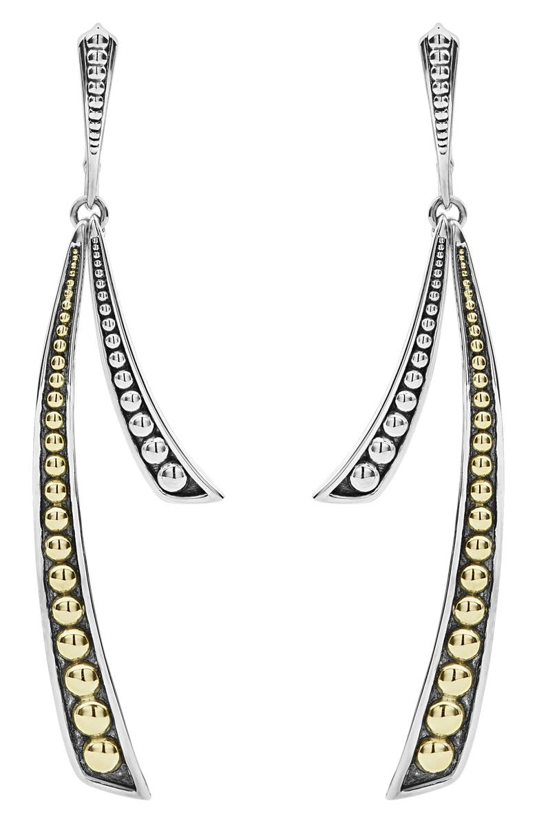 LAGOS Signature Caviar Curved Drop Earrings, Main, color, SILVER/ GOLD