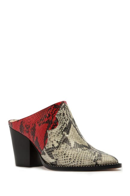 Image of Schutz Destiny Leather Snakeskin Print Mule