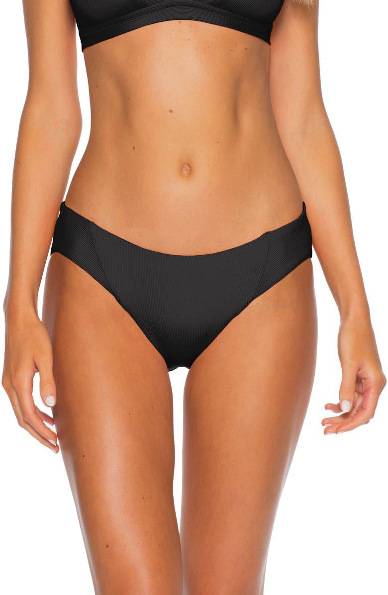 BECCA Fine Line Ribbed Bikini Bottoms, Main, color, BLACK