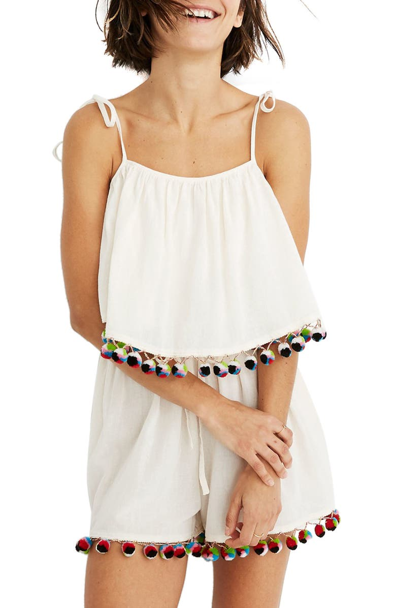 MADEWELL Pompom Cover-Up Romper, Main, color, 900