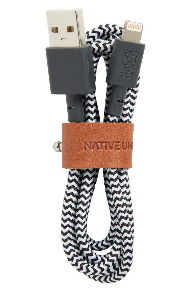 NATIVE UNION BELT Lightning to USB Charging Cable, Main, color, ZEBRA