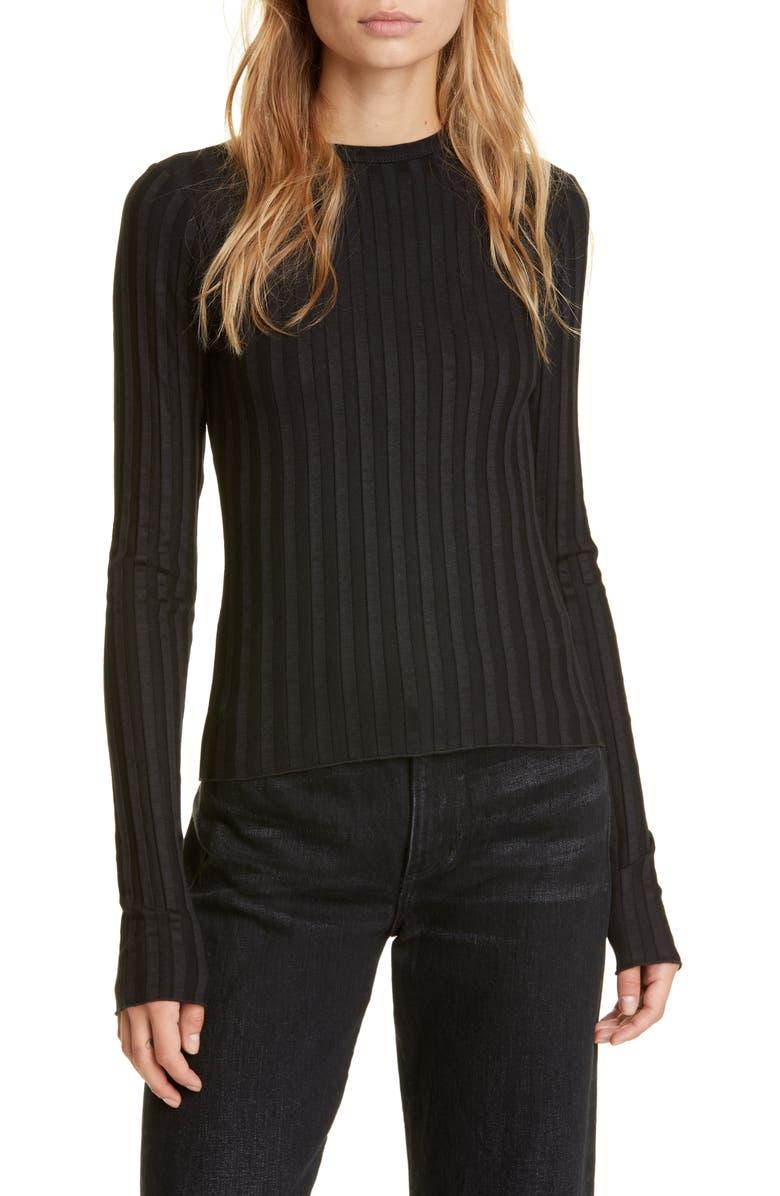 SIMON MILLER Rib Knit Top, Main, color, BLACK
