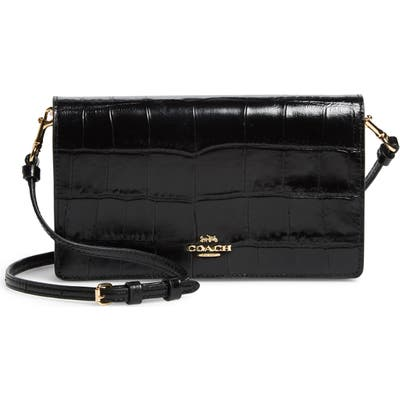 Coach Hayden Croc Embossed Leather Convertible Crossbody Bag - Black