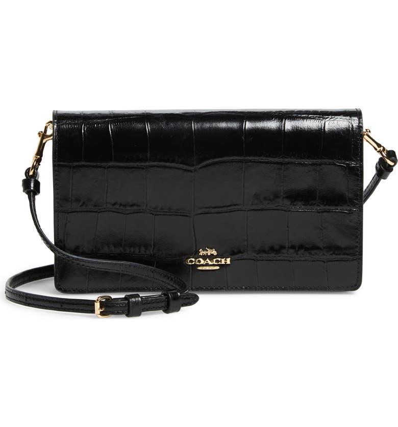 COACH Hayden Croc Embossed Leather Convertible Crossbody Bag, Main, color, BLACK