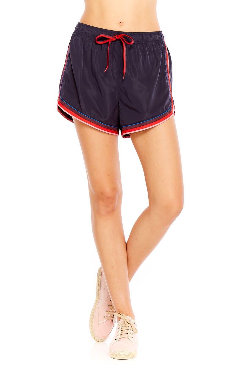 THE UPSIDE Retro Derby Shorts, Main, color, INDIGO/ MULTI