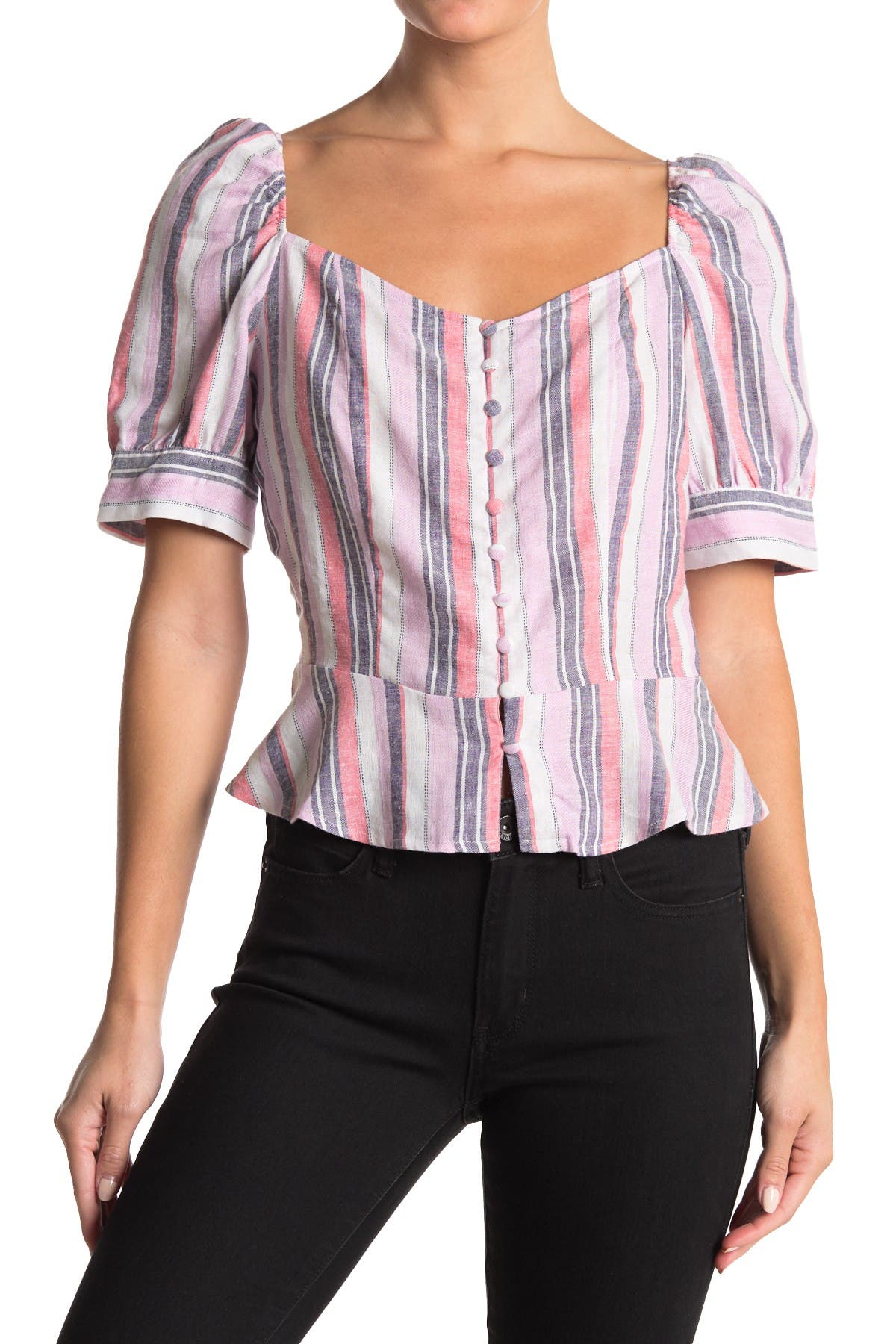 Image of Laundry By Shelli Segal Stripe Silk Peplum Hem Top