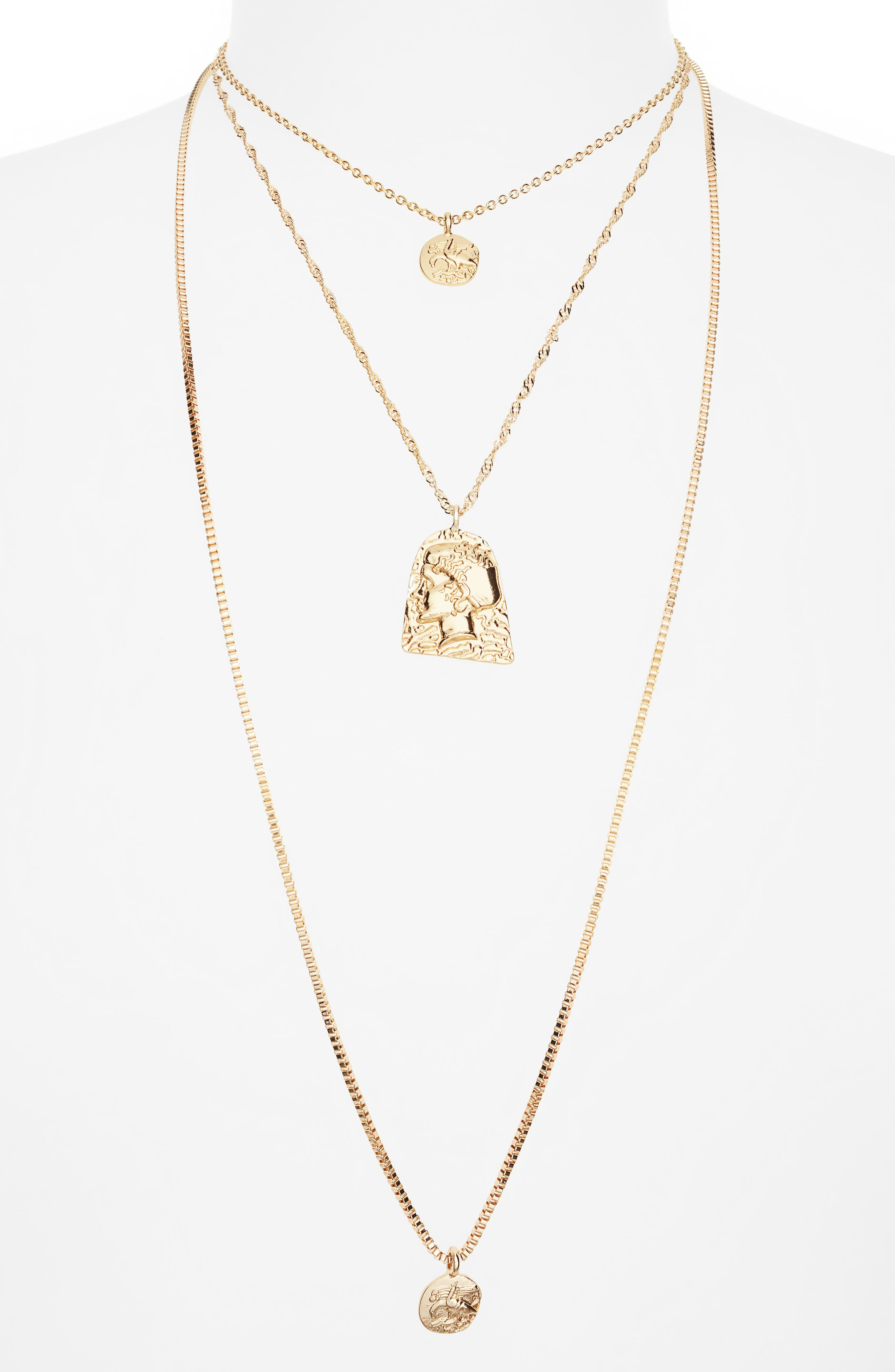 Layered Coin Necklace, Main, color, GOLD