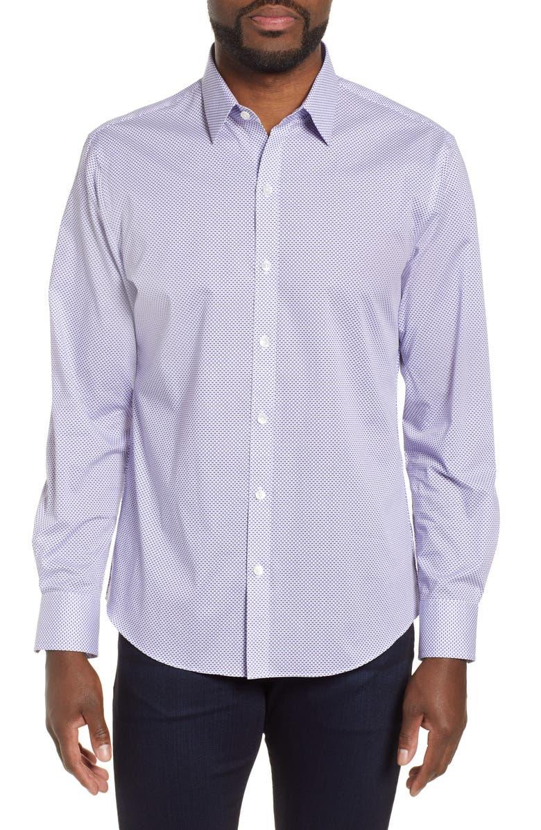 ZACHARY PRELL Wilson Regular Fit Micro Print Sport Shirt, Main, color, 400