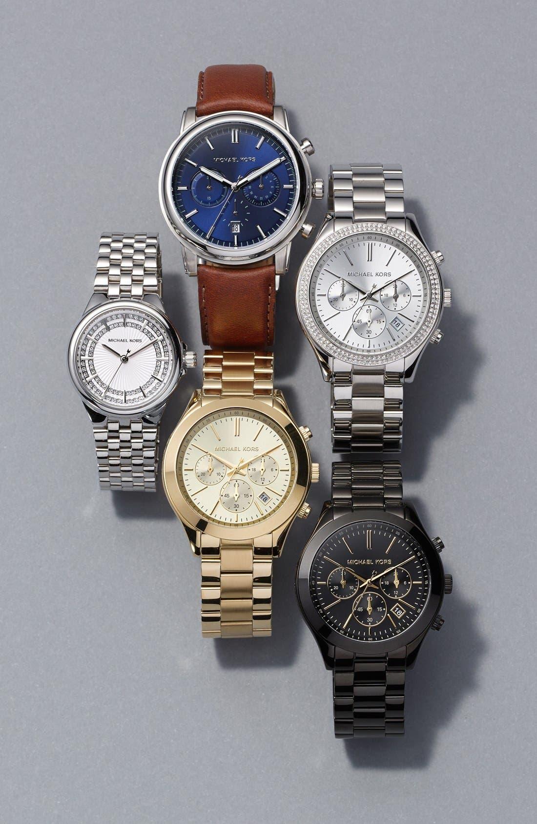 ,                             Michael Kors 'Slim Runway' Chronograph Bracelet Watch, 42mm,                             Alternate thumbnail 4, color,                             001