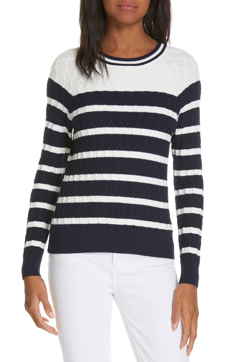 MILLY Texture Stitch Stripe Sweater, Main, color, 400