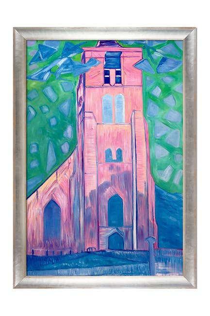 Image of Overstock Art Church Tower in Zeeland - Framed Oil Reproduction of an Original Painting by Piet Mondrian