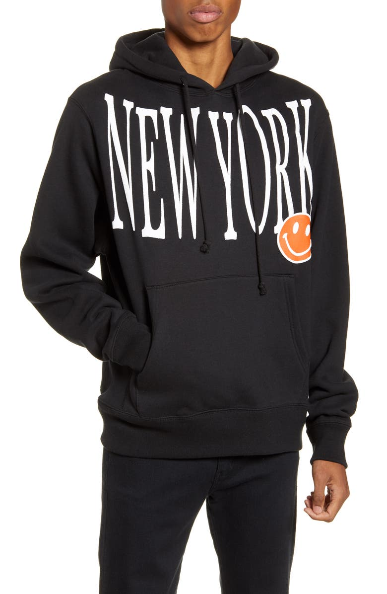CHINATOWN MARKET New York Hooded Sweatshirt, Main, color, BLACK