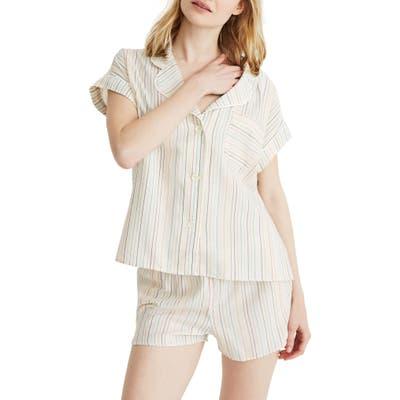 Madewell Rainbow Stripe Bedtime Pajama Top, Ivory
