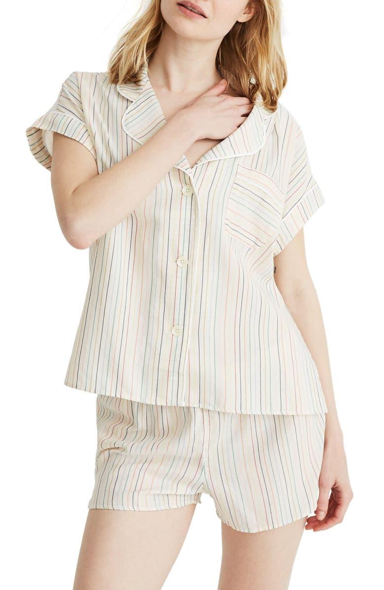 MADEWELL Rainbow Stripe Bedtime Pajama Top, Main, color, 500