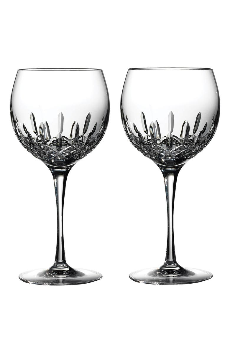 WATERFORD 'Lismore Essence' Lead Crystal Balloon Wine Glasses, Main, color, CLEAR