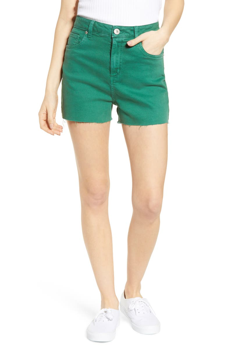 STS BLUE Alicia High Waist Denim Mom Shorts, Main, color, EVERGREEN