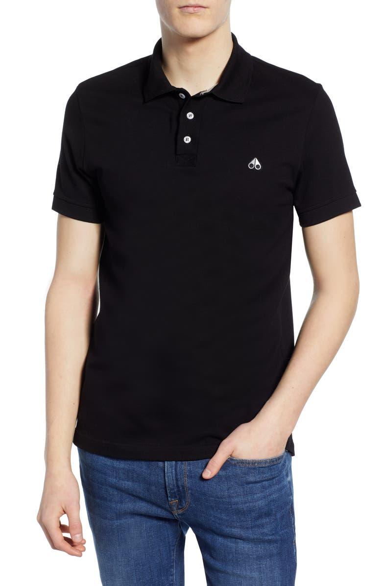 MOOSE KNUCKLES Piqué Polo, Main, color, BLACK