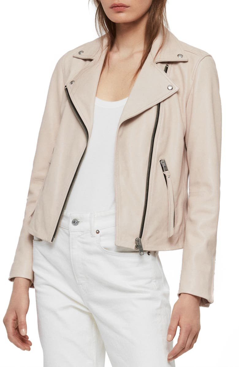 ALLSAINTS Balfern Leather Biker Jacket, Main, color, 900