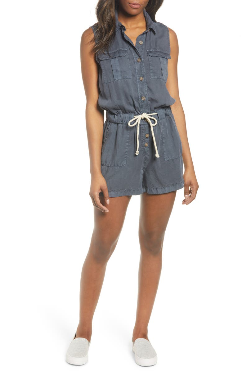 CASLON<SUP>®</SUP> Utility Romper, Main, color, GREY EBONY