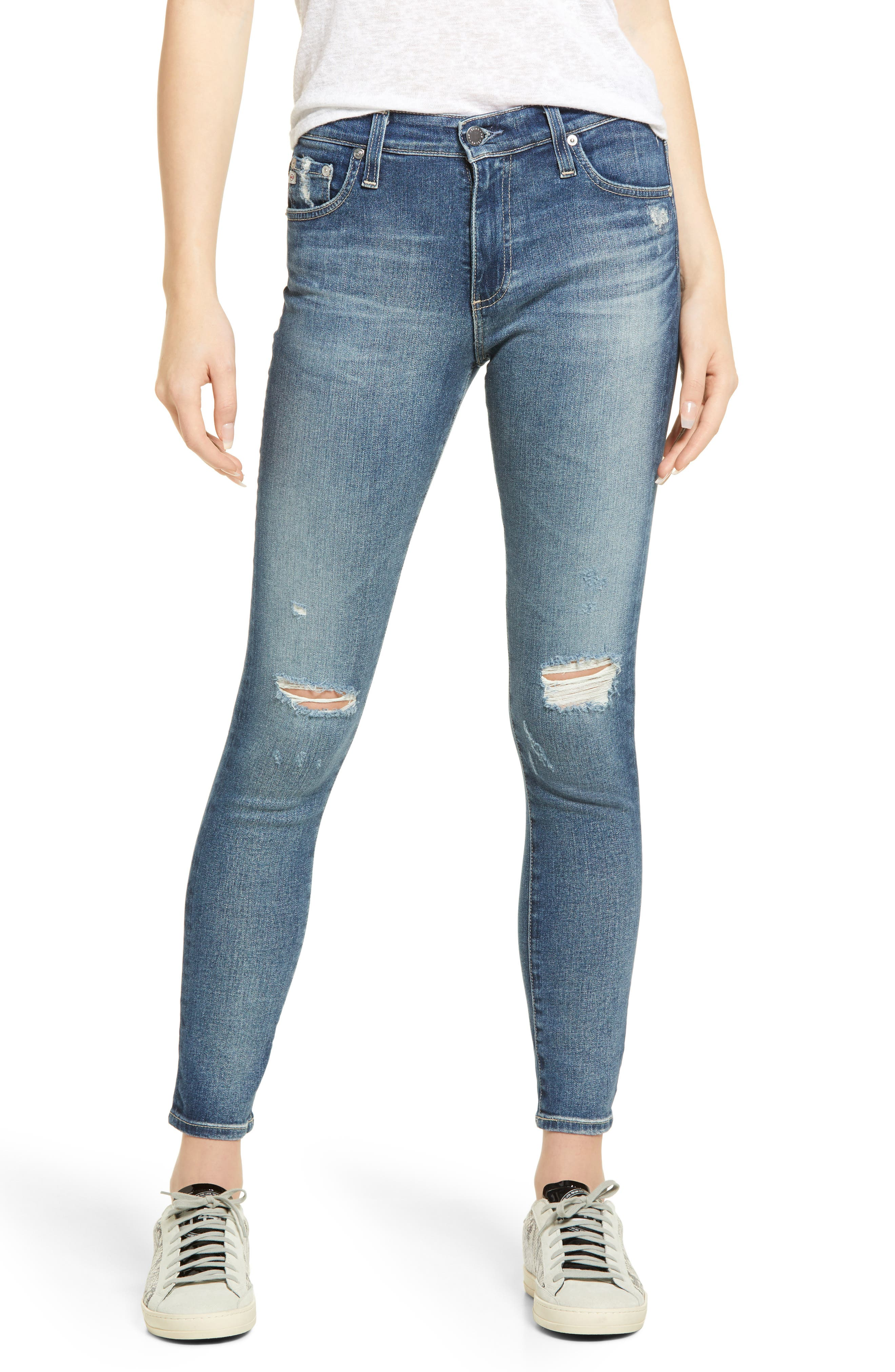 Women's AG The Farrah Distressed High Waist Ankle Skinny Jeans