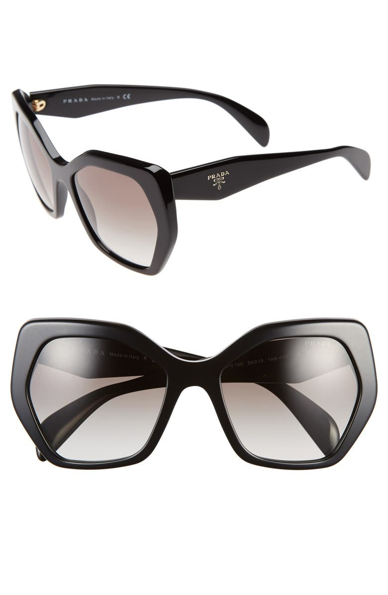 PRADA Heritage 56mm Sunglasses, Main, color, BLACK