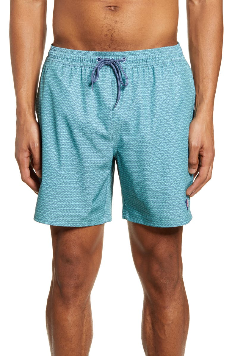 VINEYARD VINES Stripe Chappy Swim Trunks, Main, color, GREENWICH GREEN