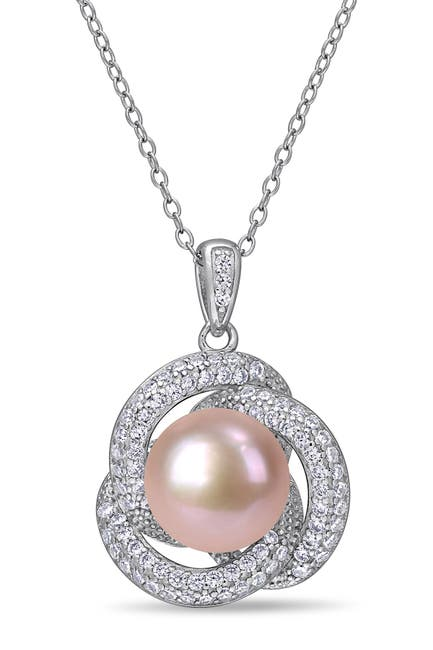 Image of Delmar Sterling Silver 10.5-11mm Pink Freshwater Cultured Pearl & CZ Pendant Necklace