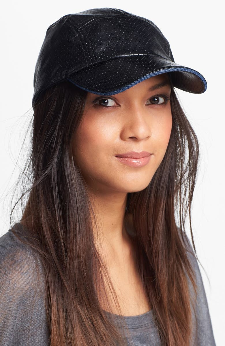 BCBG eneration Perforated Faux Leather Cap, Main, color, 001