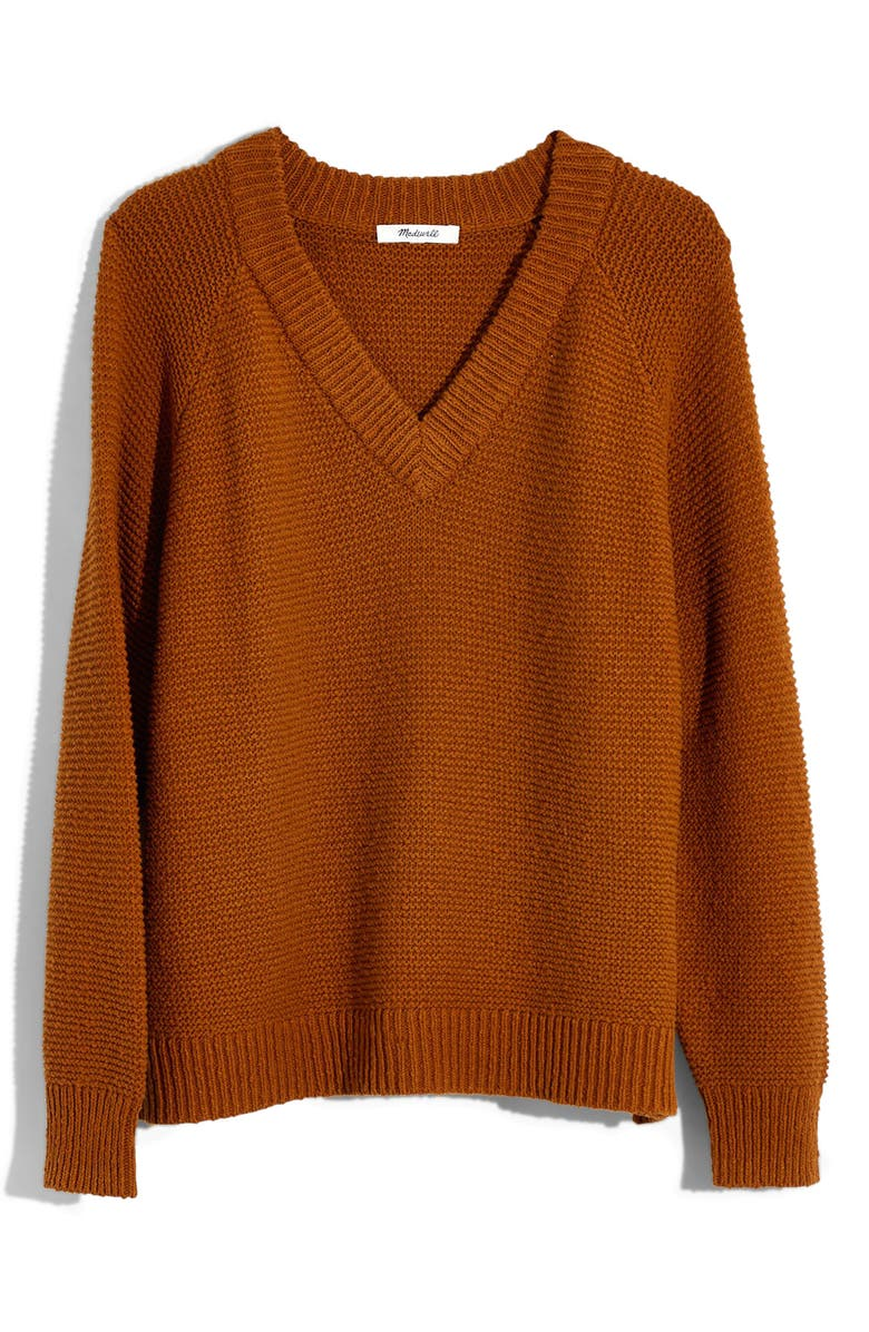 MADEWELL Arden Crop V-Neck Pullover Sweater, Main, color, GOLDEN PECAN